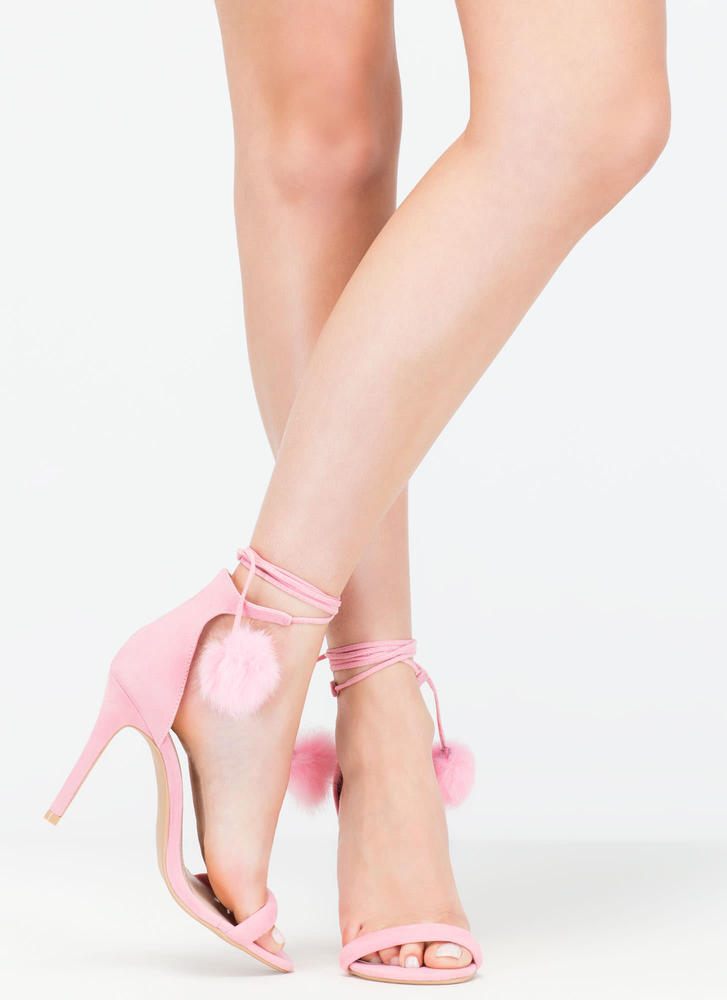 Pom-Pom Squad Faux Suede Heels PINK