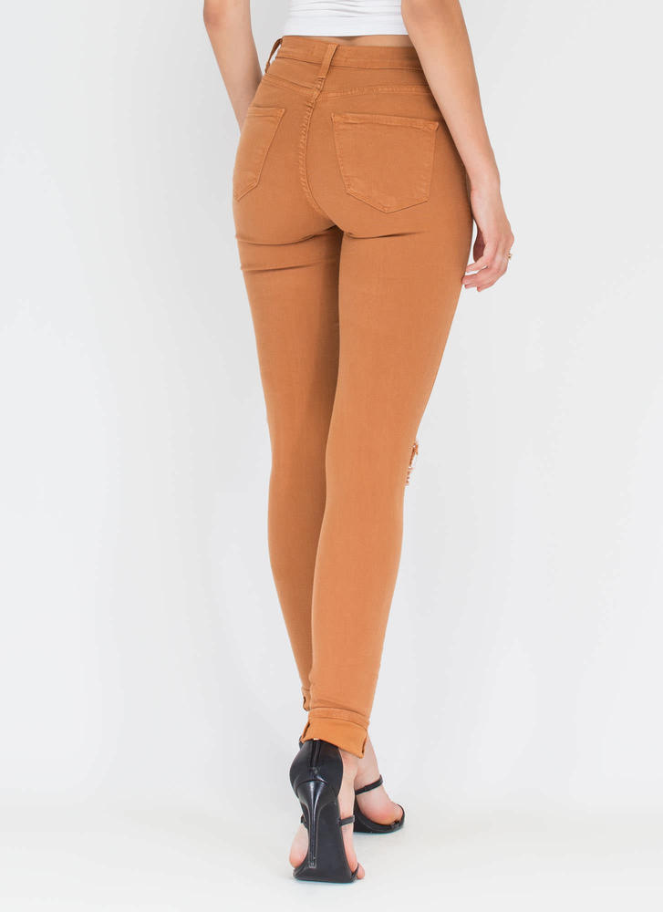 Make The Cut-Out Distressed Skinny Jeans CAMEL