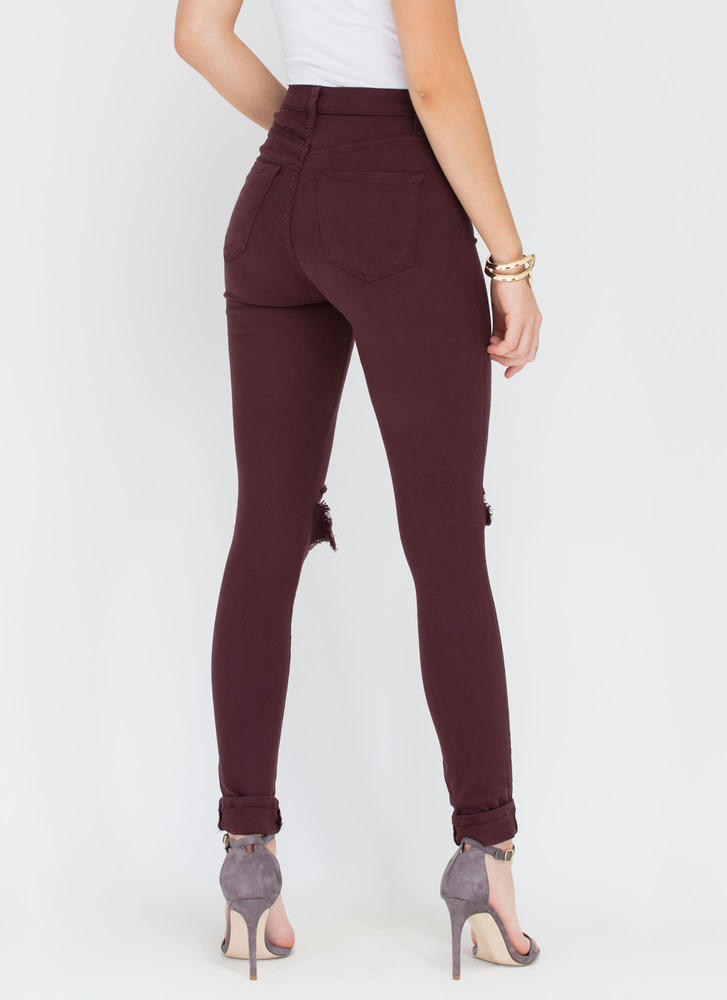 Make The Cut-Out Distressed Skinny Jeans PLUM