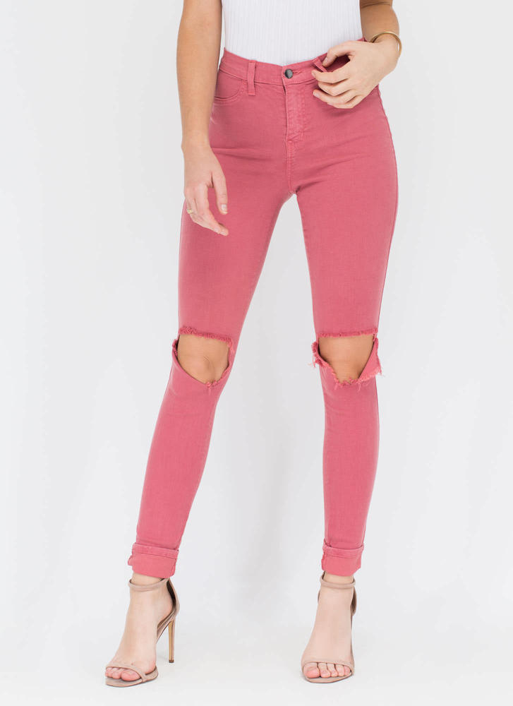 Make The Cut-Out Distressed Skinny Jeans SALMON