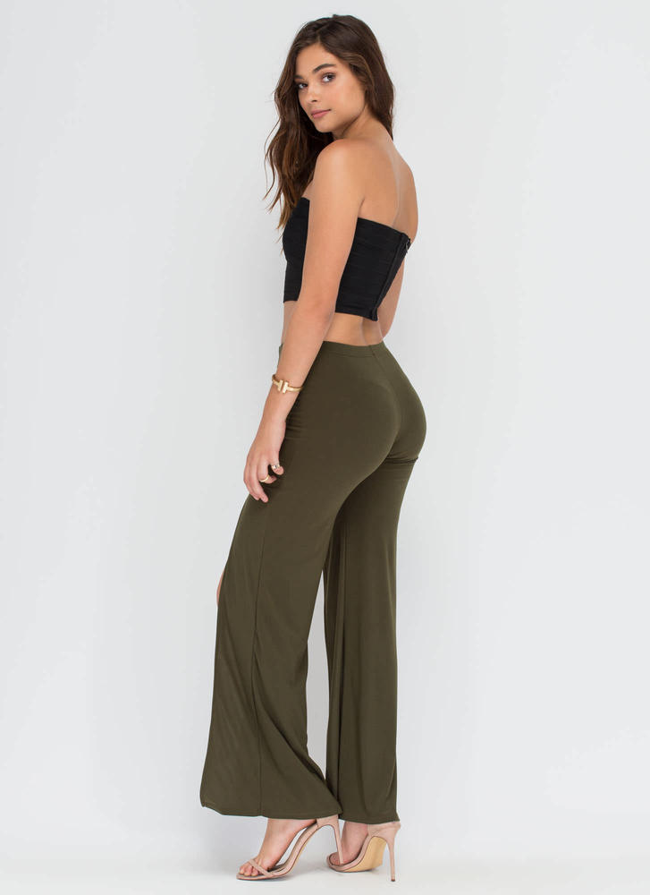 True Slit Flared Pants OLIVE