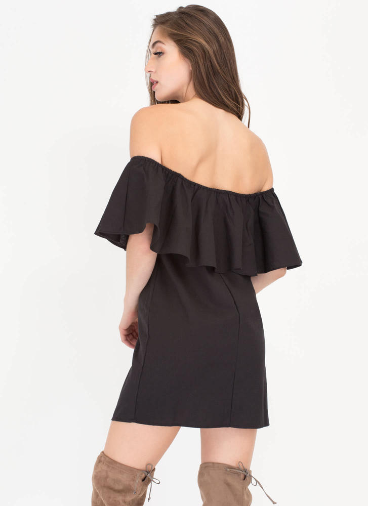 Flare-y Tale Ending Woven Shift Dress BLACK