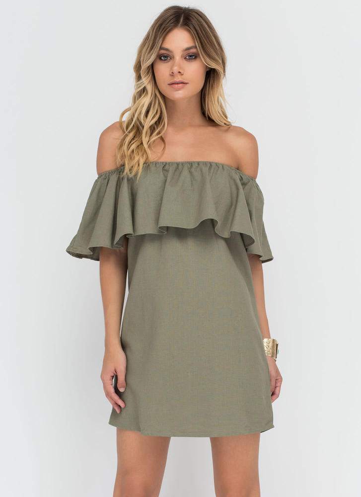 Flare-y Tale Ending Woven Shift Dress OLIVE