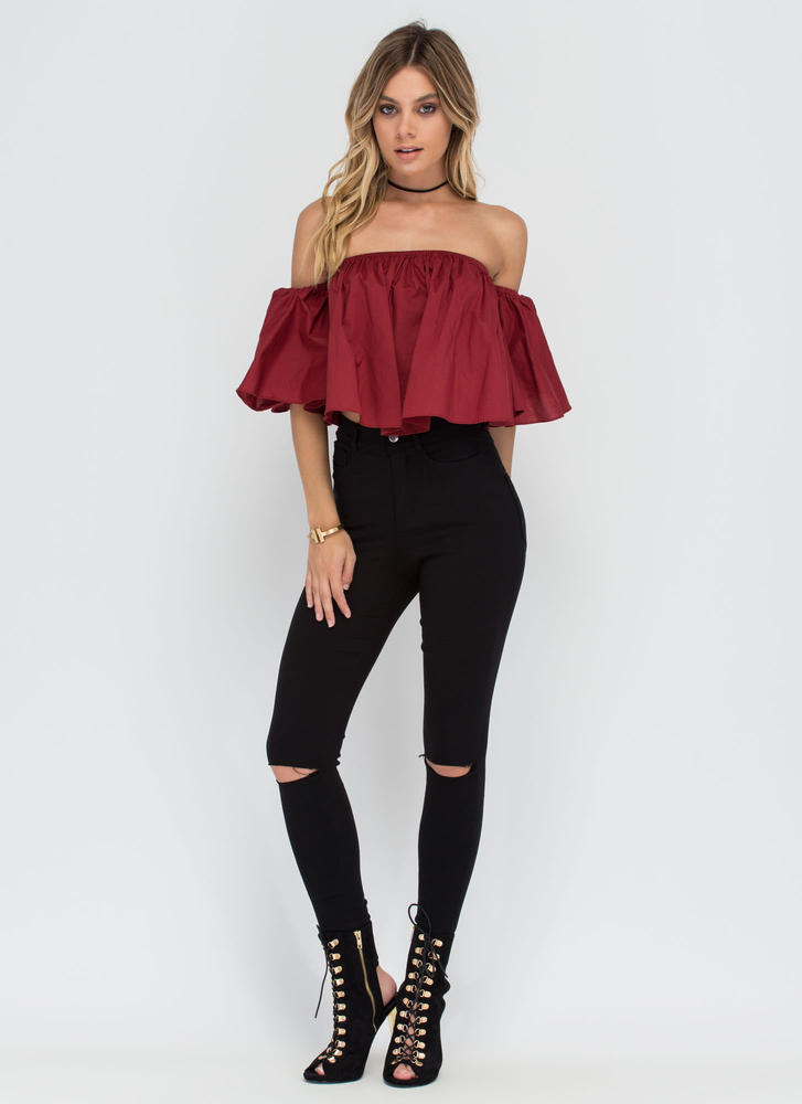Breezy Point Off-Shoulder Flounce Top BURGUNDY