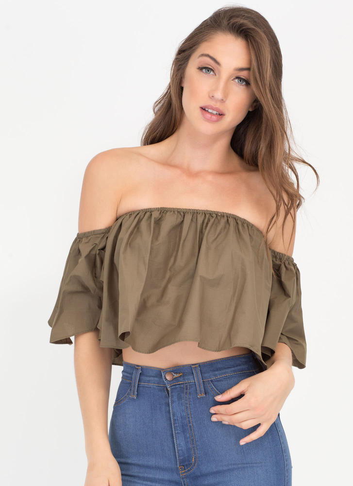 Breezy Point Off-Shoulder Flounce Top OLIVE