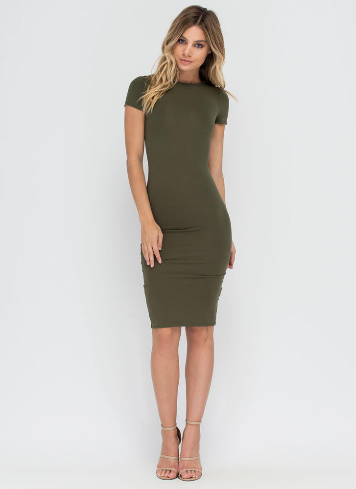 Fits You To A T-Shirt Midi Dress OLIVE