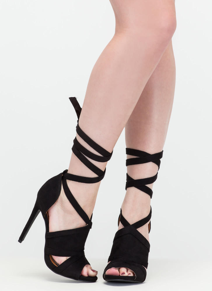 Rip Tied Faux Suede Tie-Up Heels BLACK