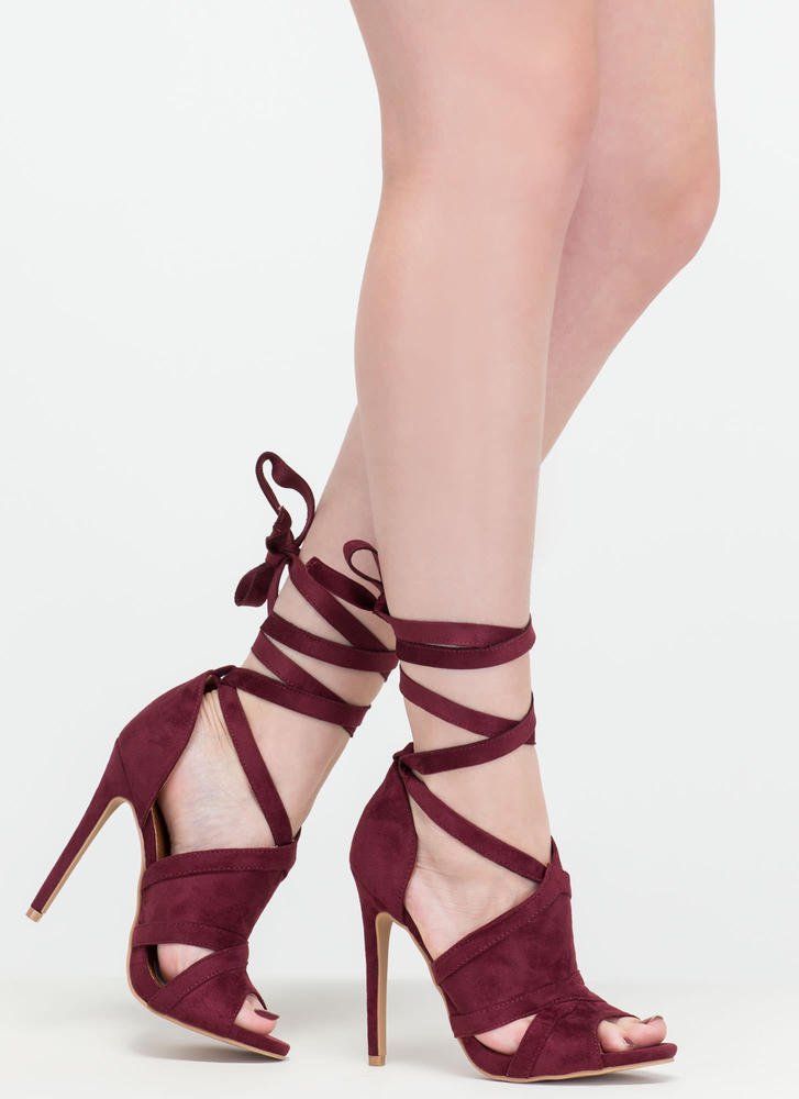 Rip Tied Faux Suede Tie-Up Heels WINE