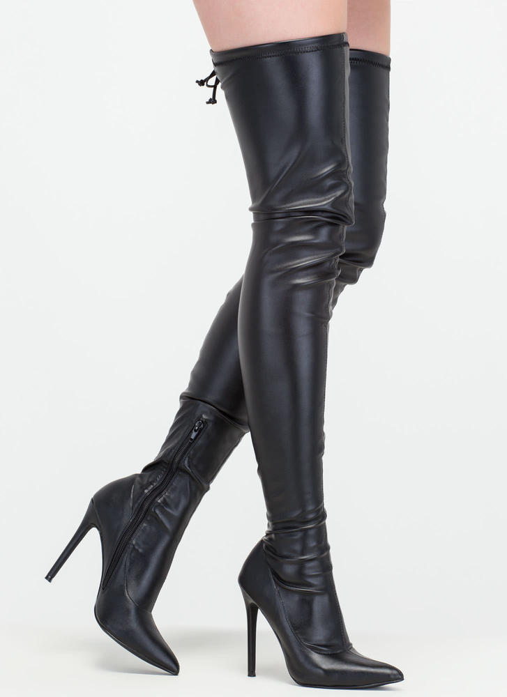 crush faux leather thigh high boots black gojane