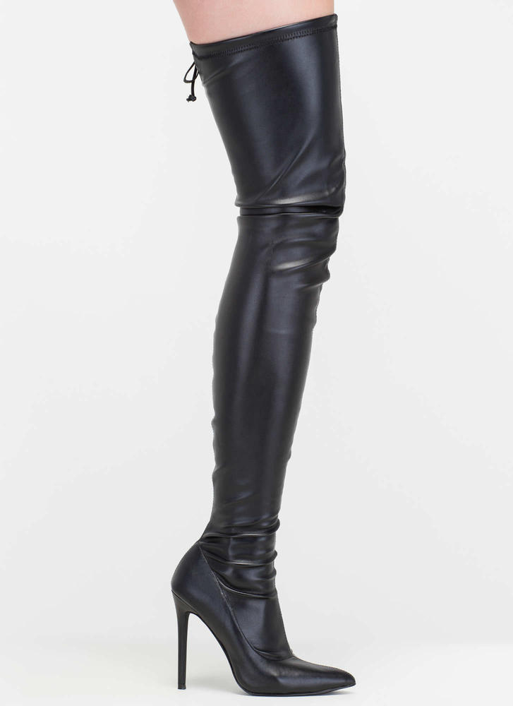 Crush Hard Faux Leather Thigh-High Boots BLACK - GoJane.com
