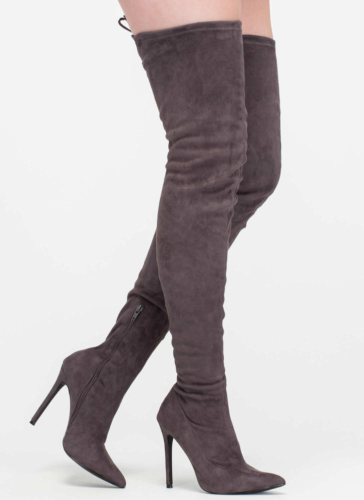 Crush Hard Faux Suede Thigh-High Boots GREY TAUPE MAROON NUDE ...