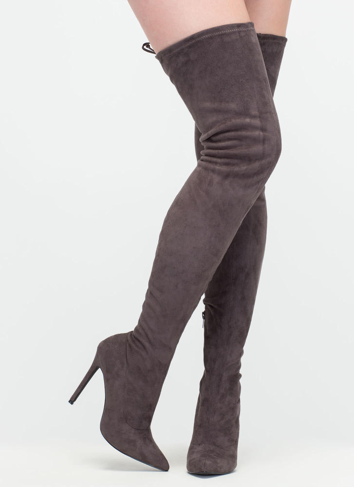 cb6116ee2a5 Crush Hard Faux Suede Thigh-High Boots OLIVE GREY MAROON NUDE .