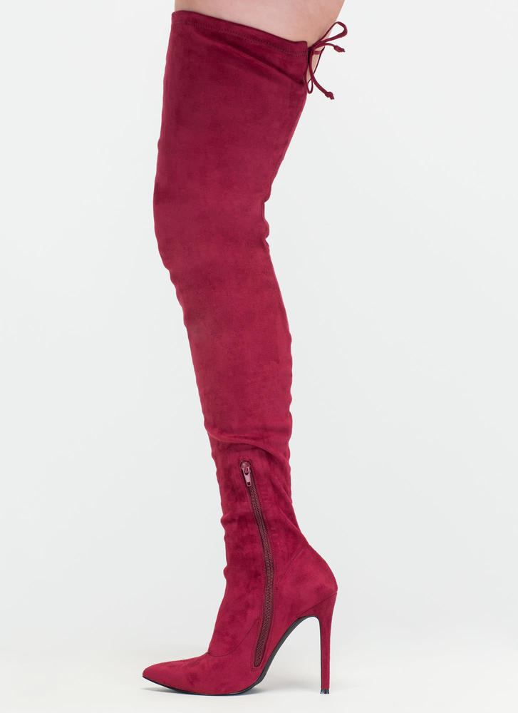 Crush Hard Faux Suede Thigh-High Boots MAROON