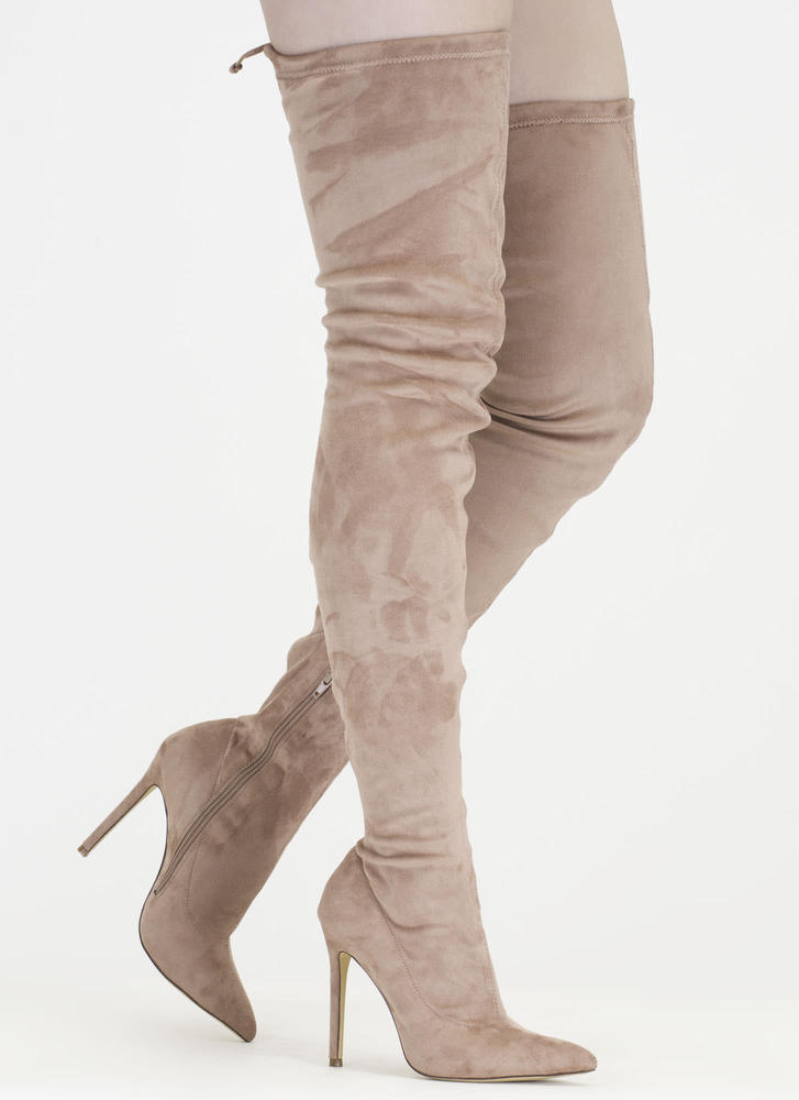 Crush Hard Faux Suede Thigh-High Boots OLIVE GREY NUDE TAUPE BLACK ...