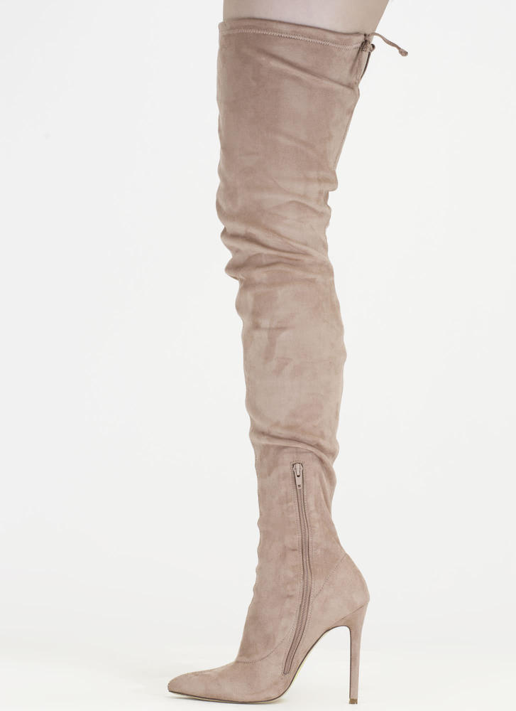 Crush Hard Faux Suede Thigh-High Boots MAUVE