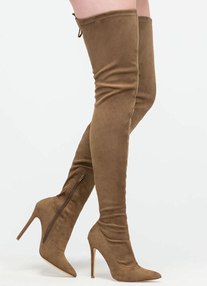 Crush Hard Faux Suede Thigh-High Boots OLIVE MAUVE GREY MAROON ...
