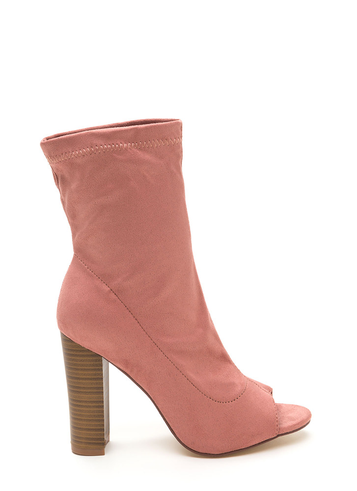 Let It Be Chunky Peep-Toe Booties DUSTYPINK