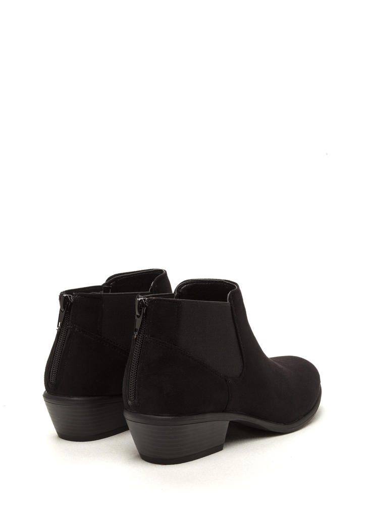 Down The Stretch Faux Suede Booties BLACK