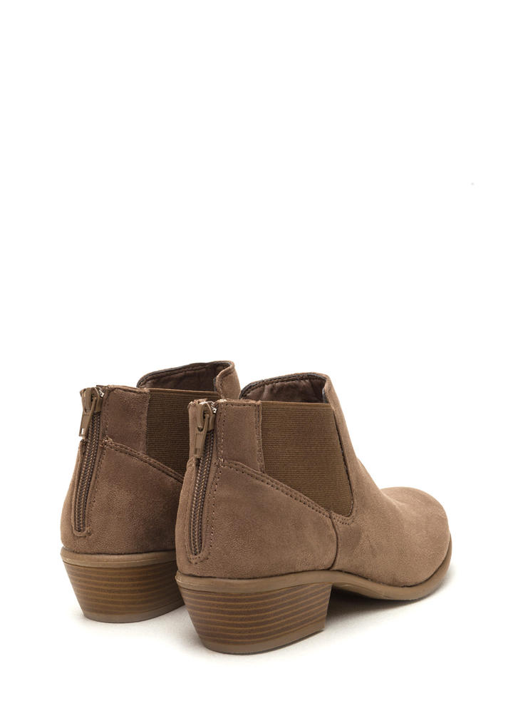 Down The Stretch Faux Suede Booties TAUPE