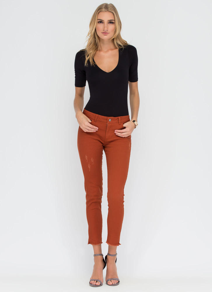 Make The Cut-Off Fringed Skinny Jeans RUST (Final Sale)