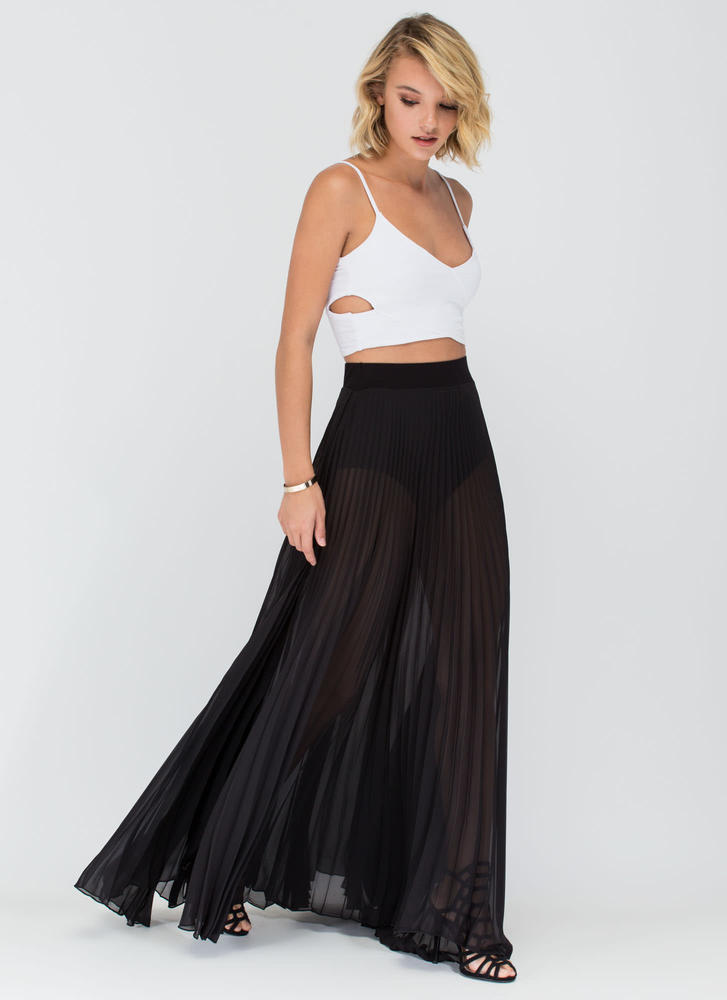 Act Accordionly Pleated Maxi Skirt BLACK