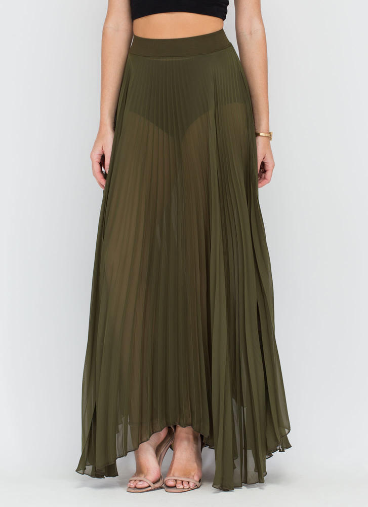Act Accordionly Pleated Maxi Skirt OLIVE
