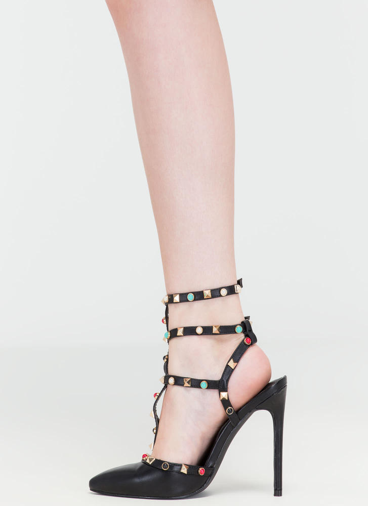 Rock Party Pointy T-Strap Heels BLACK