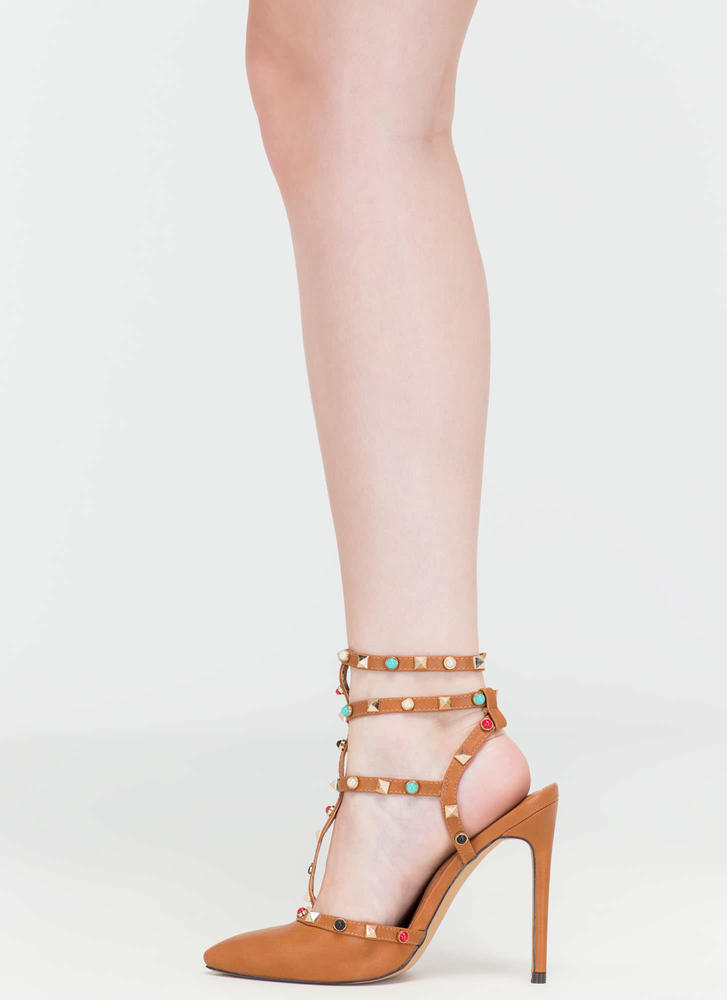 Rock Party Pointy T-Strap Heels COGNAC