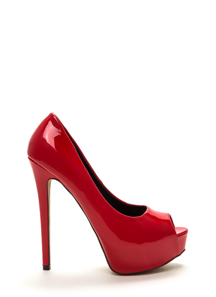High Voltage Peep-Toe Platform Pumps RED