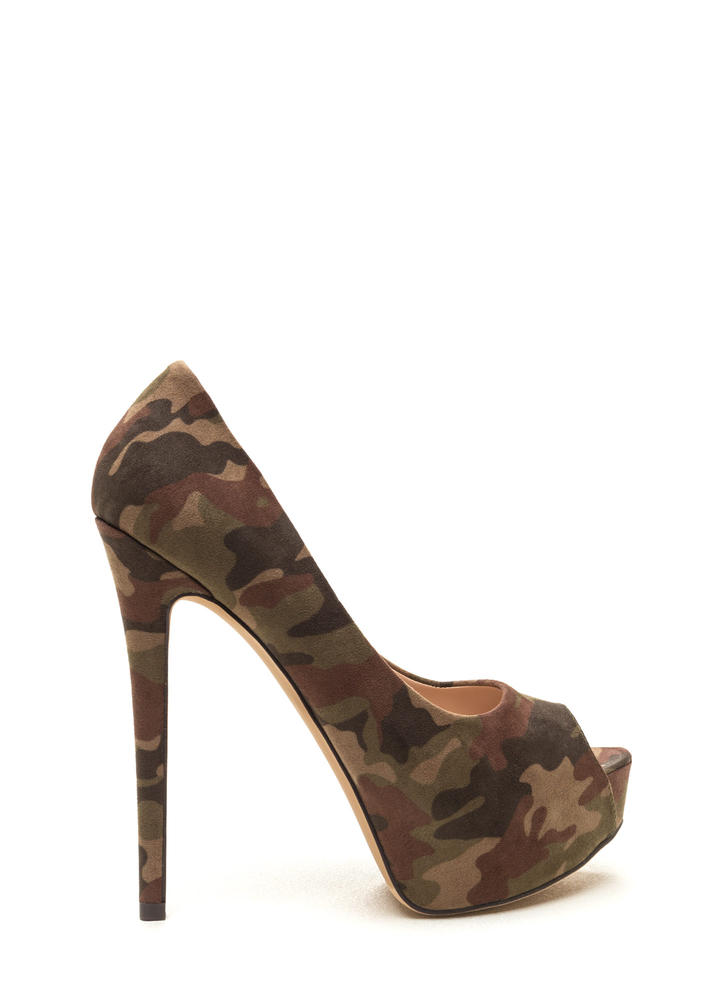 High Voltage Camo Platform Pumps