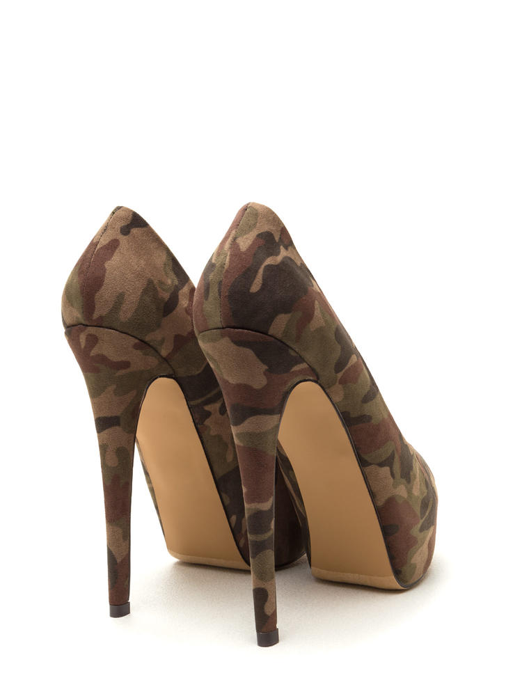 High Voltage Camo Platform Pumps CAMOUFLAGE