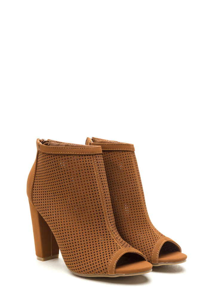 Talk Is Chic Perforated Chunky Booties CHESTNUT (Final Sale)
