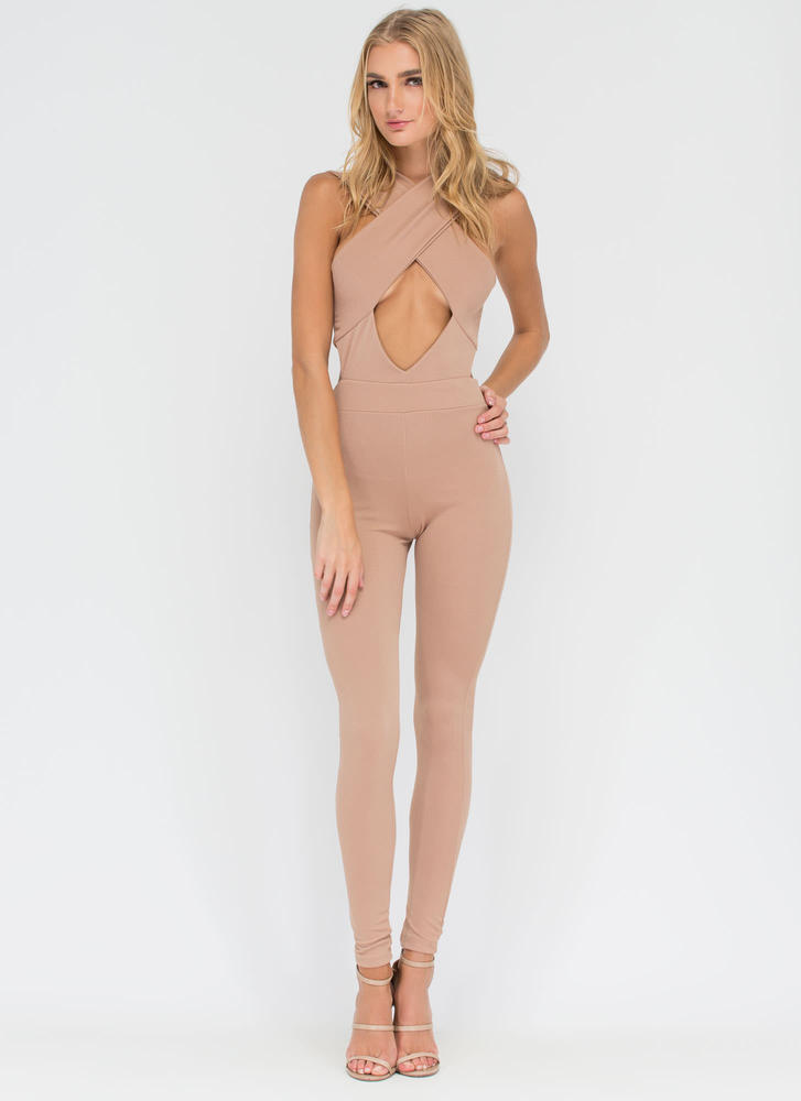 Hottie Crossing Cut-Out Jumpsuit TAUPE