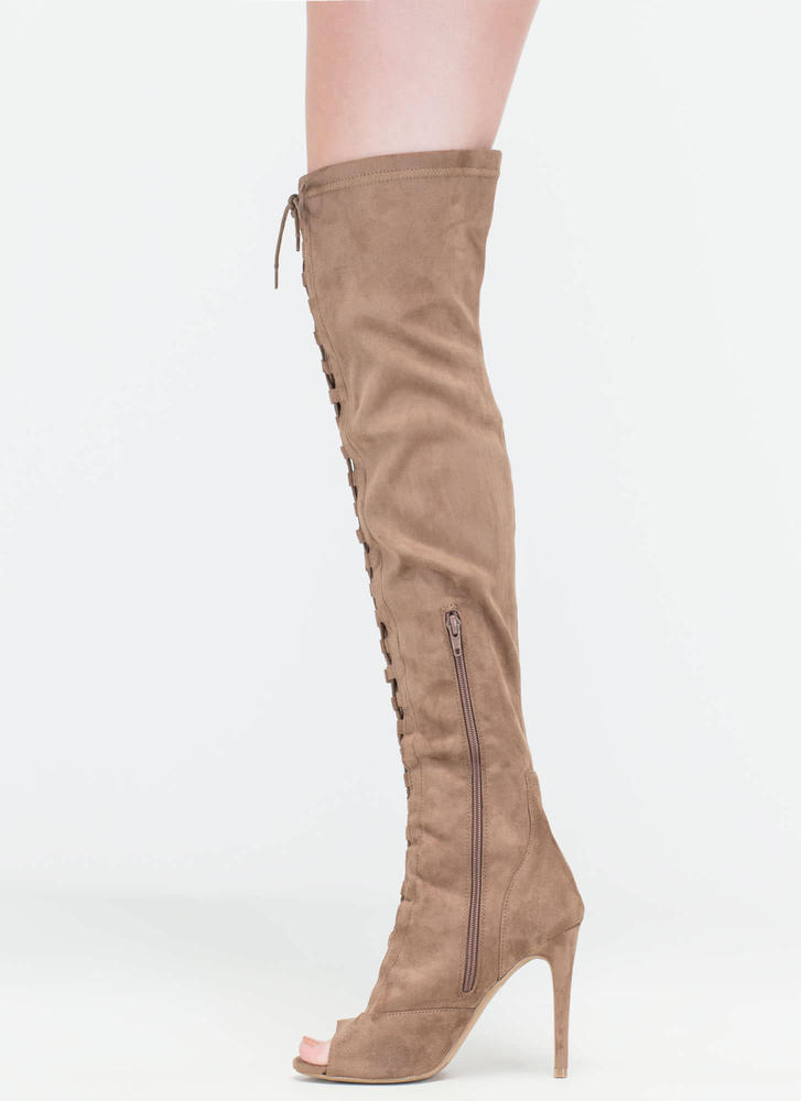 Leg Day Over-The-Knee Lace-Up Boots TAUPE