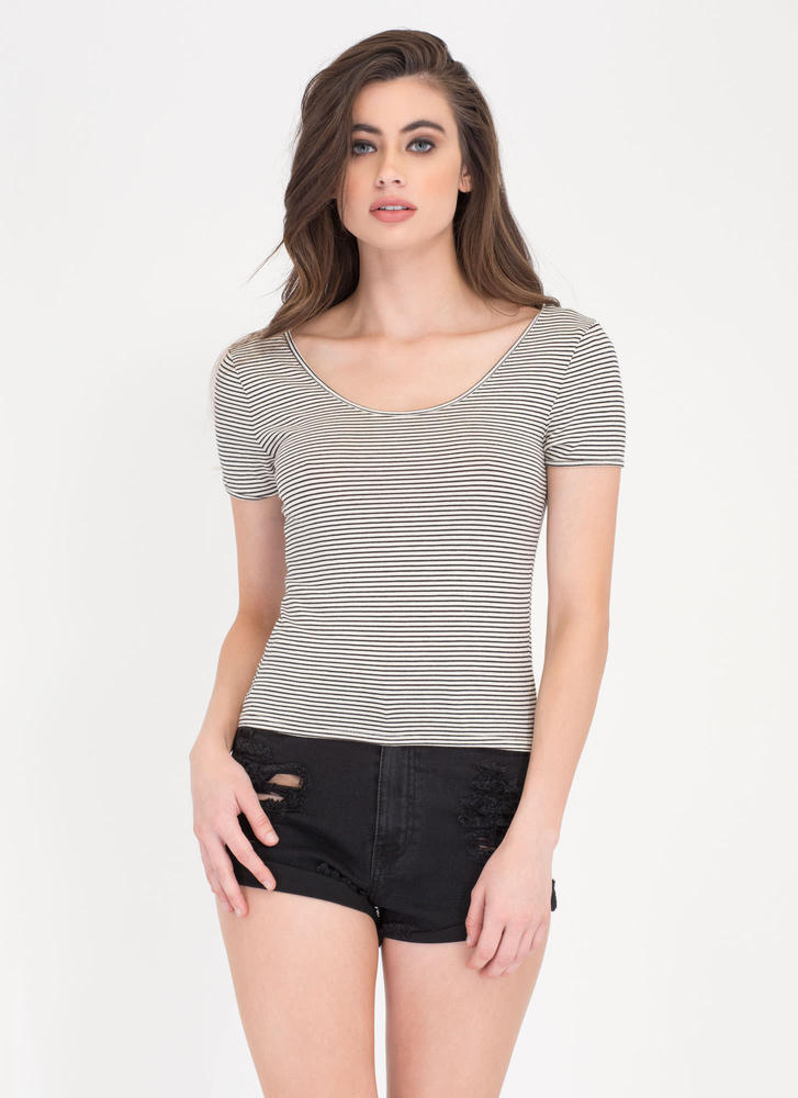 Stripe Squad Cropped Scoop Tee WHITE