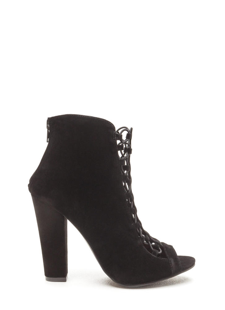 Double Crossed Chunky Faux Suede Heels BLACK (Final Sale)