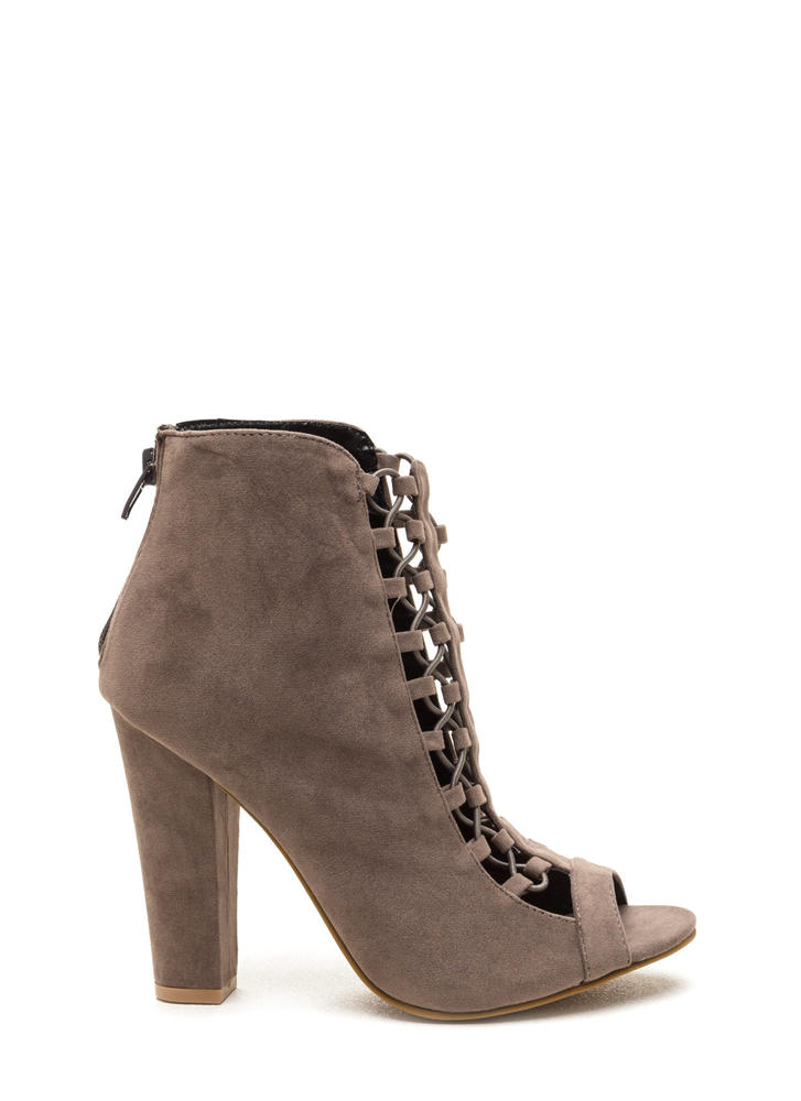 Double Crossed Chunky Faux Suede Heels GREY