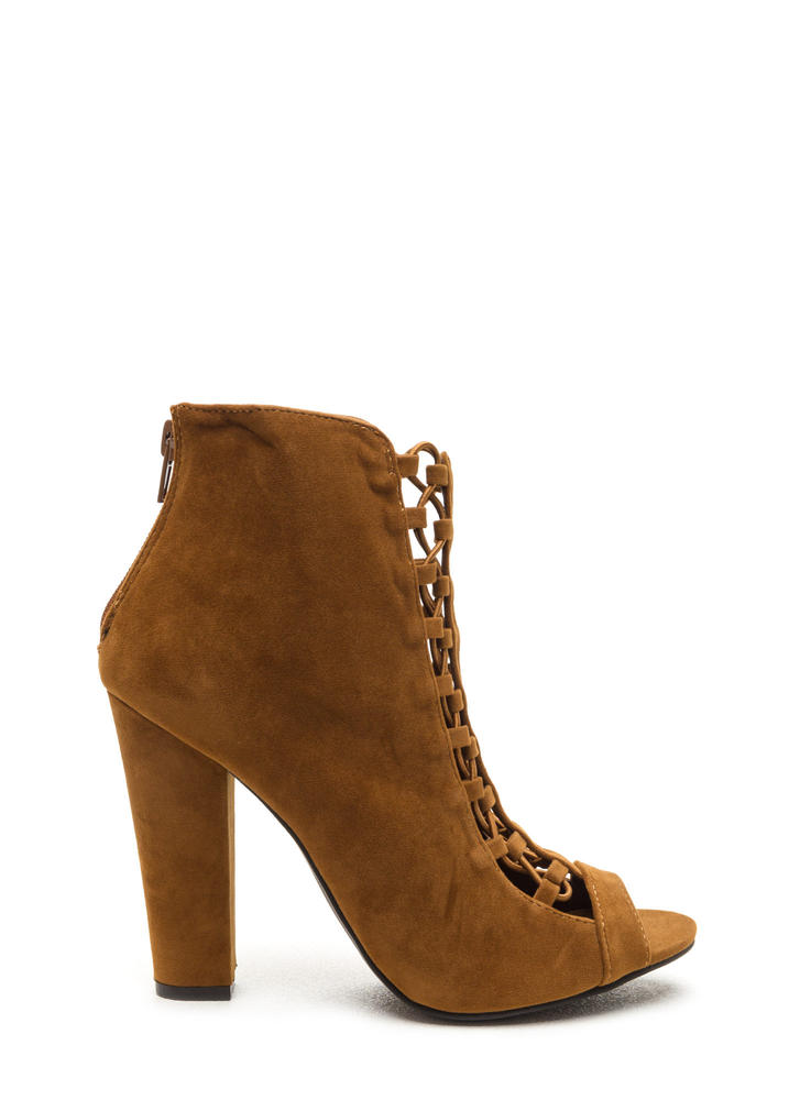 Double Crossed Chunky Faux Suede Heels