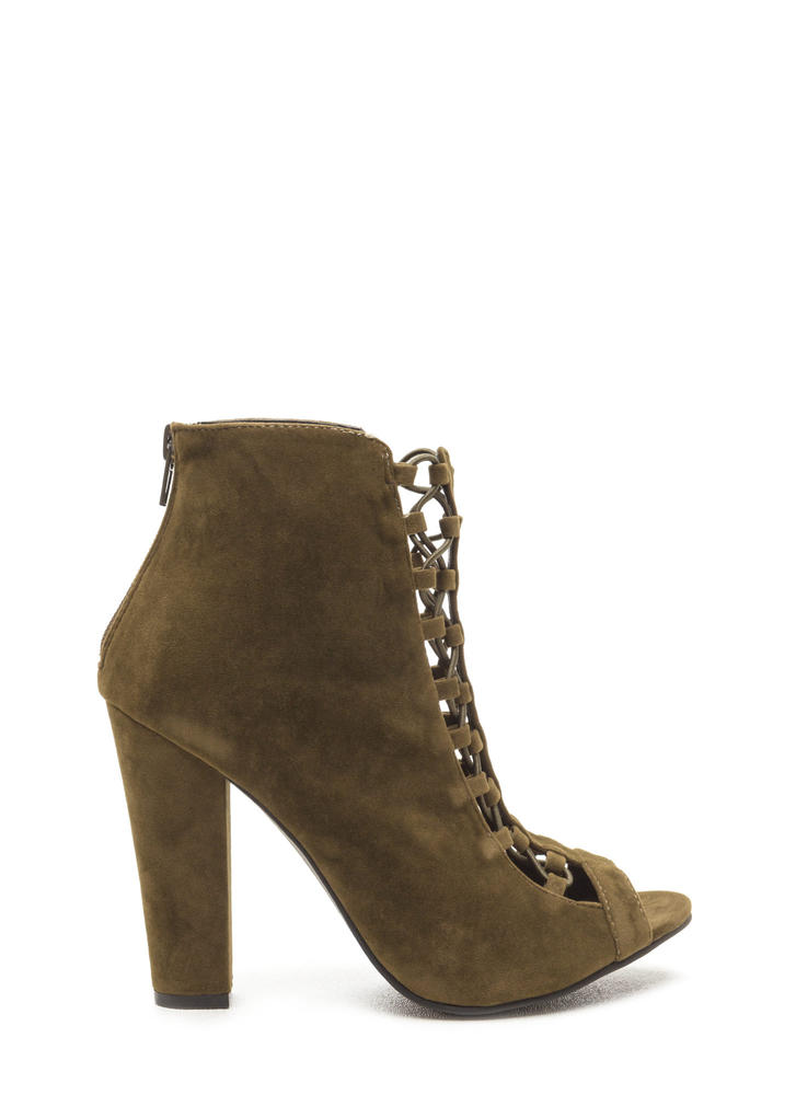 Double Crossed Chunky Faux Suede Heels OLIVE (Final Sale)