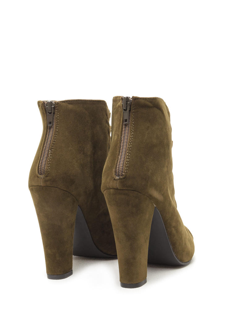 Double Crossed Chunky Faux Suede Heels OLIVE
