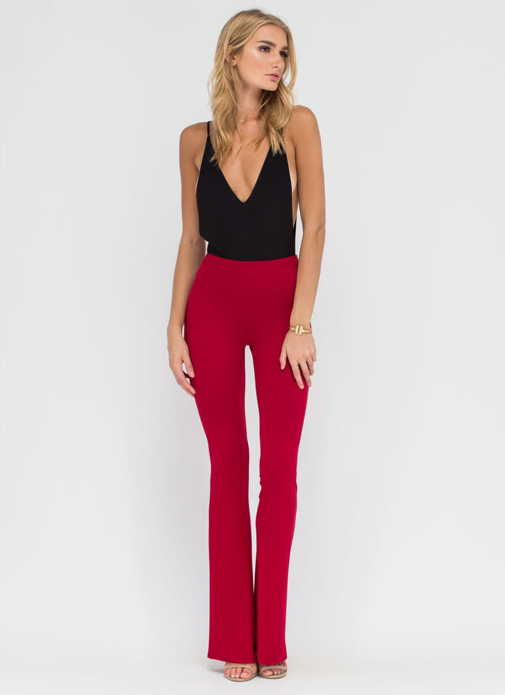 Dare To Be Flared Knit Pants BURGUNDY