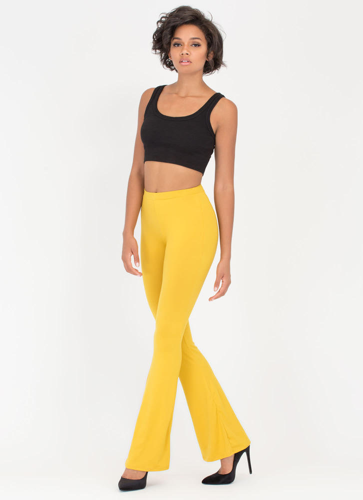 Dare To Be Flared Knit Pants MUSTARD