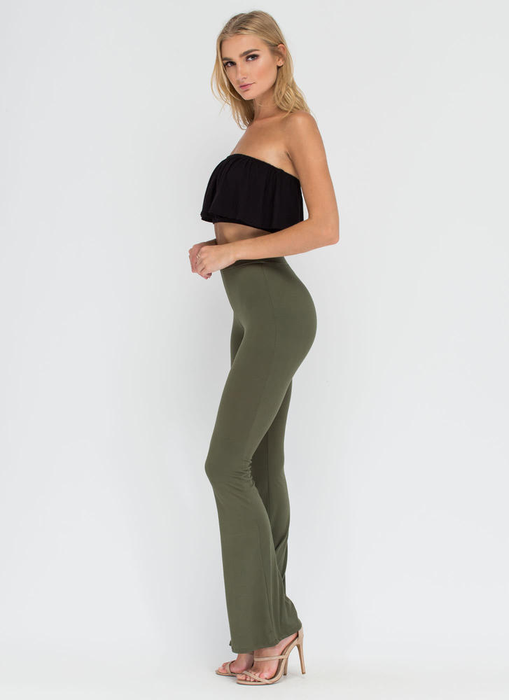 Dare To Be Flared Knit Pants OLIVE