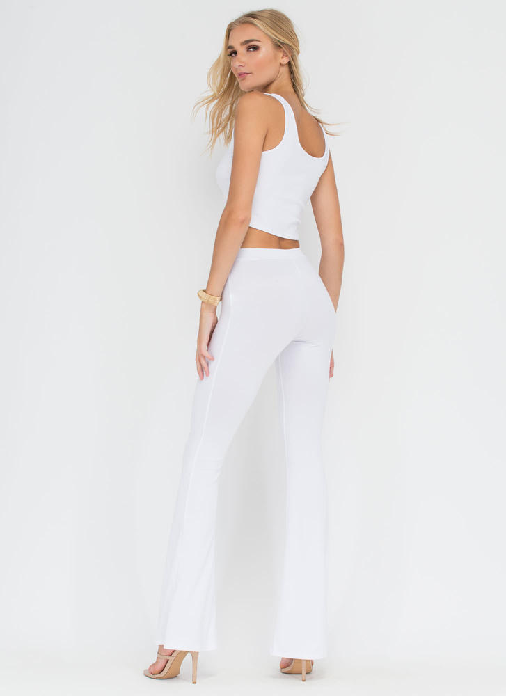 Dare To Be Flared Knit Pants WHITE