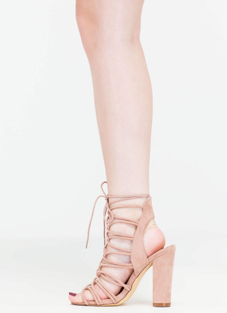 Finding Loopholes Lace-Up Chunky Heels MAUVE