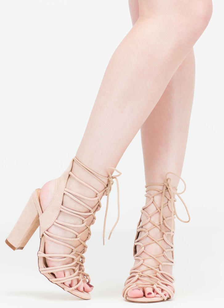 Finding Loopholes Lace-Up Chunky Heels NUDE