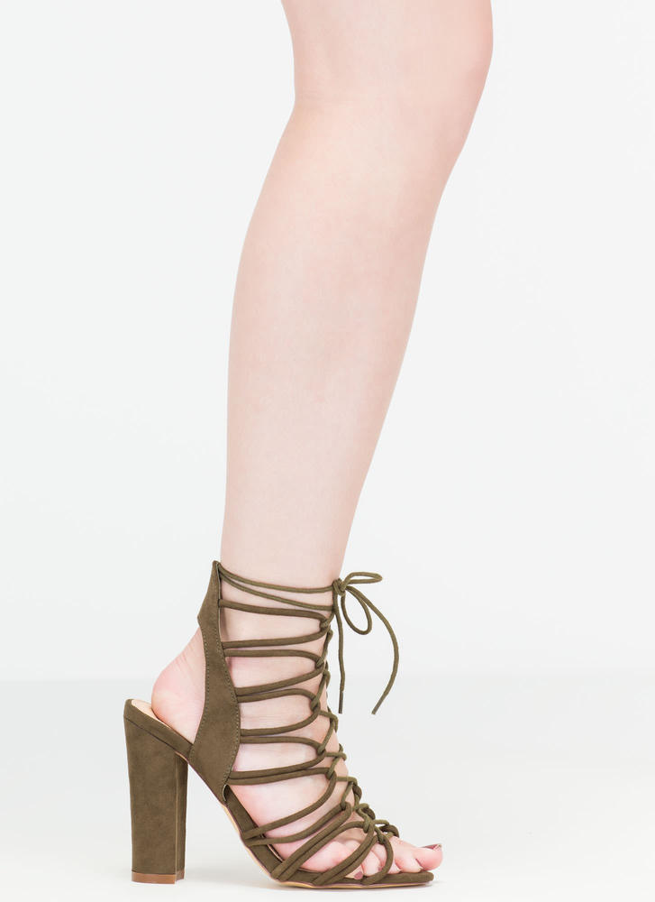 Finding Loopholes Lace-Up Chunky Heels OLIVE