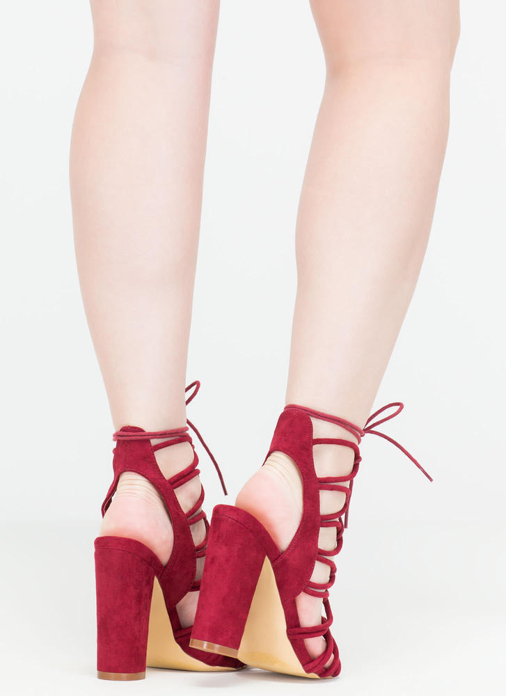 Finding Loopholes Lace-Up Chunky Heels WINE
