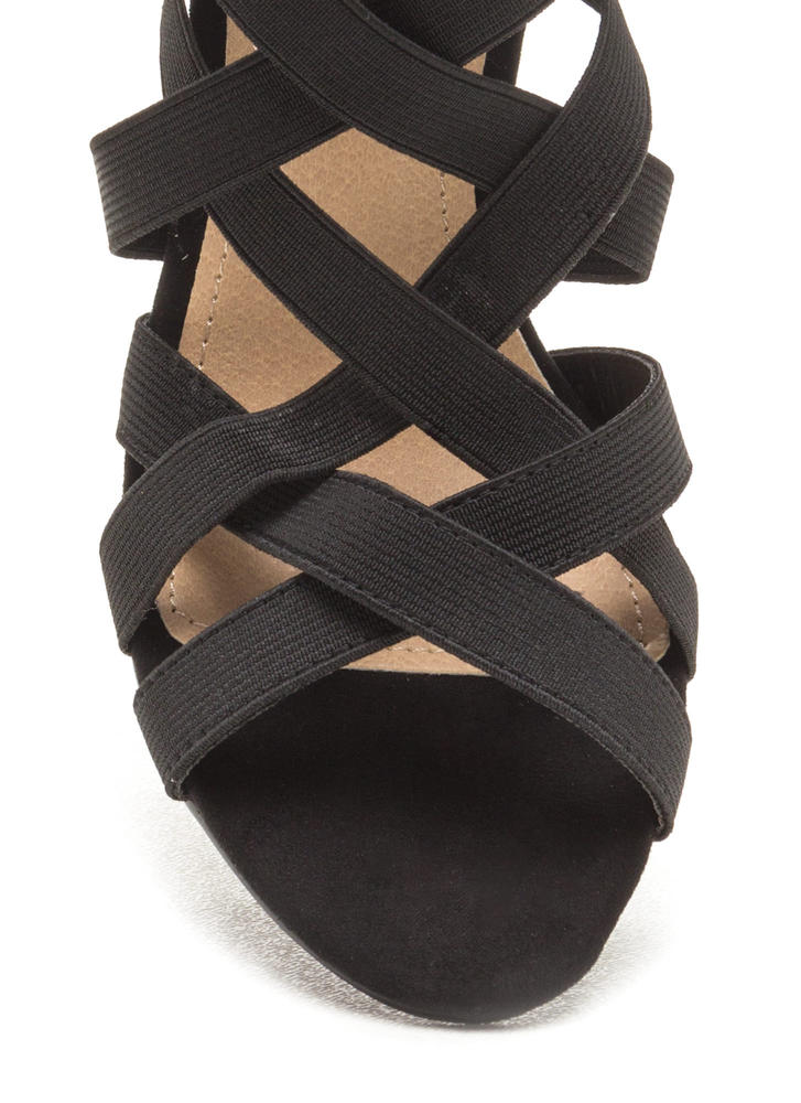 Latticed Attitude Caged Chunky Heels BLACK (Final Sale)