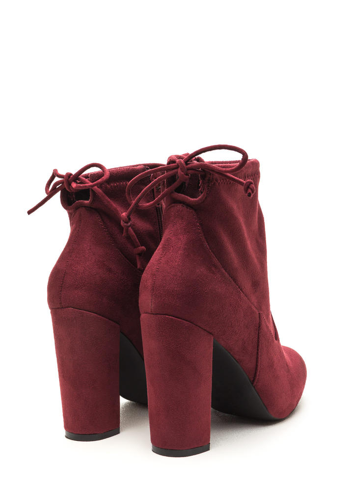 Key To Great Style Chunky Tied Booties BURGUNDY (Final Sale)